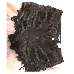 Black High Waisted Ripped Shorts